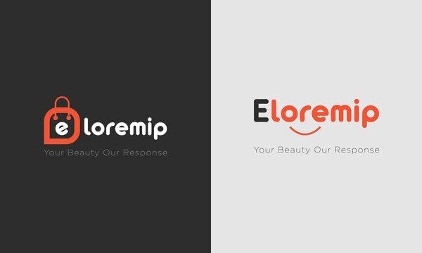 E-commerce shop logo design vector template, cart bag smile logo symbol icon template