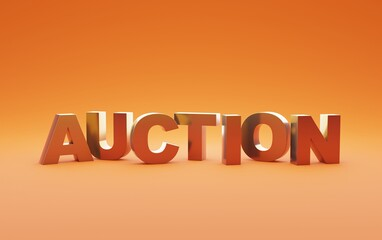 Auction banner text word letters on orange background