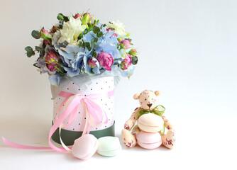 bouquet of flowers, marshmallows, handmade teddy bear
