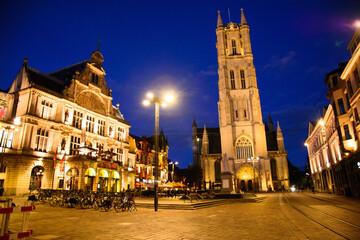 Sint-Baafsplein at night, Ghent, Belgium