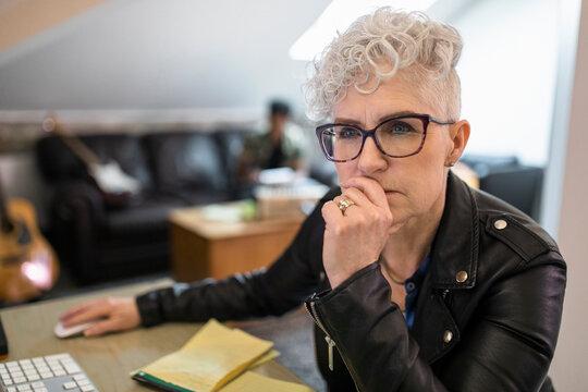 Creative woman working on computer