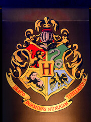 MADRID, SPAIN - NOV 22, 2017: Hogwarts school logo, Wizarding world of Harry Poter experience in Madrid, Spain