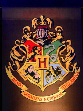 MADRID, SPAIN - NOV 22, 2017: Hogwarts school logo, Wizarding world of Harry Poter experience in Madrid, Spain