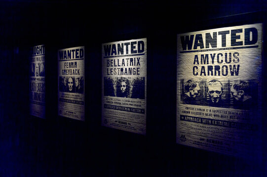 MADRID, SPAIN - NOV 22, 2017: Wanted criminals, Wizarding world of Harry Poter experience in Madrid, Spain