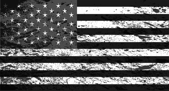 American flag, USA, black and white grunge background.