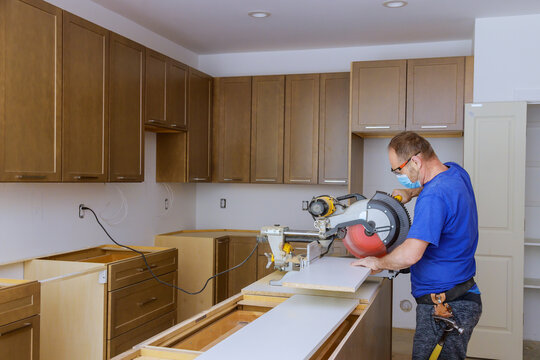 Remodel home improvement view installed in a new kitchen personal protective equipments for healthcare covid-19,