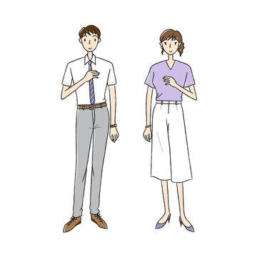 夏服のビジネスマンとビジネスウーマン
