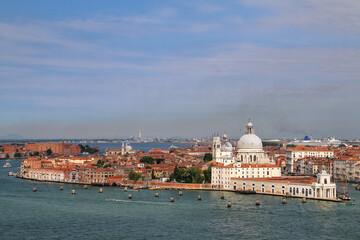 View of Basilica di Santa Maria della Salute on Punta della Dogana in Venice, Italy