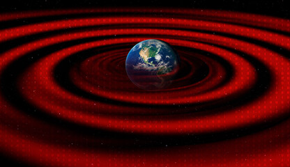 """Technology waves revolve around the world """"Elements of this image furnished by NASA """""""