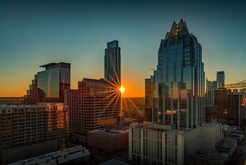 Austin Texas USA - January 27, 2020: View of the city rooftops and downtown skyline with the landmark Frost Bank Tower from The Westin hotel at sunset