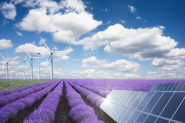 Green energy or renewables concept with purple lavender field wind turbines an solar panels on a hot summer day