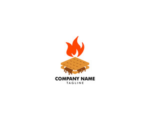 S'more graham cracker, chocolate, and marshmallow logo template design