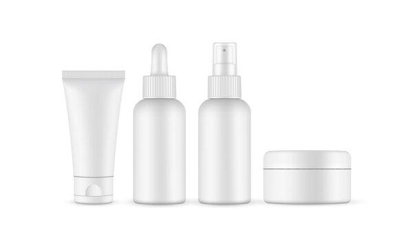Blank cosmetic packaging mockup: jar, tube, dropper, spray bottle. Vector illustration