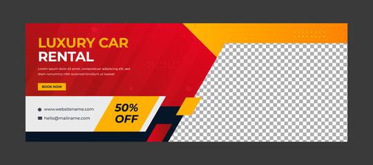 Modern social media  banner template for car rental