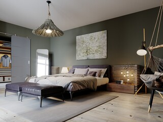 Boho style bedroom interior with olive color walls and two leather ottomans.