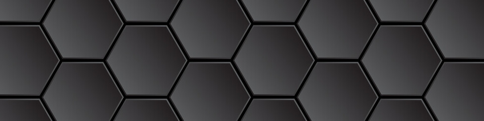 Dark honeycombs on a black background. Polygonal texture. Hi-tech abstract background with honeycomb elements.