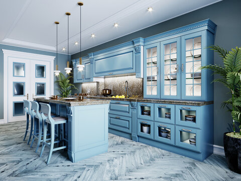 Fashionable kitchen with blue walls and blue furniture, a kitchen in a modern classic style.