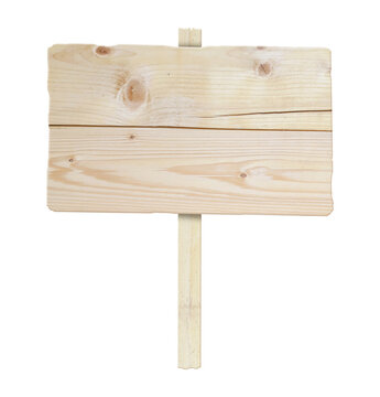 Old wooden billboard. Wooden sign isolated on a white background. 3D illustration