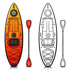 Vector kayak cartoon isolated design
