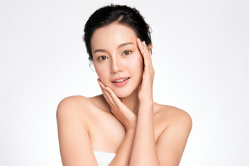 Beautiful Young asian Woman touching her clean face with fresh Healthy Skin, isolated on white background, Beauty Cosmetics and Facial treatment Concept