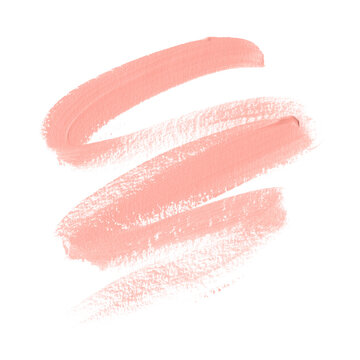 Peach lipstick smudge isolated on white background. Perfect beauty element design. Vector.