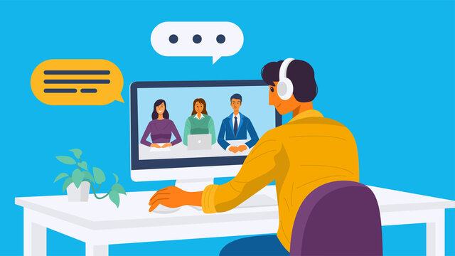 Working from home concept, A young man having video conference with his colleagues. Vector Illustration