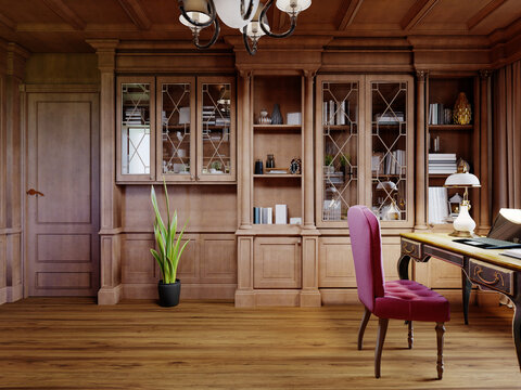 A wooden office cabinet in a classic style with sideboard cabinets with interior decor and a work desk with a soft pink chair.