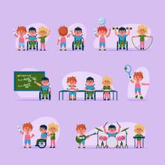 Vector character illustration disabled children life scenes set