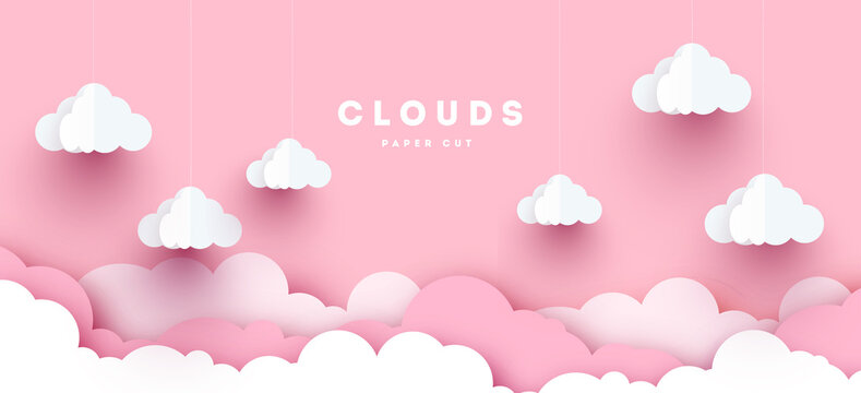 Pink Modern Vector paper clouds and balloons. illustration. Cute cartoon fluffy clouds. Pastel colors. Origami style
