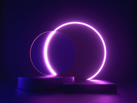3d platform with neon shining and transparent glass rings. Geometric shapes composition with empty space for product design show.