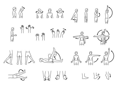 human body range of motion, body movement icon set