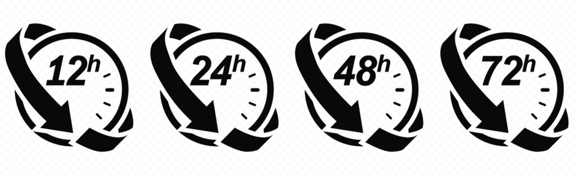 12, 24, 48 and 72 hours clock arrow. Vector work time effect or delivery service time icons. EPS 10