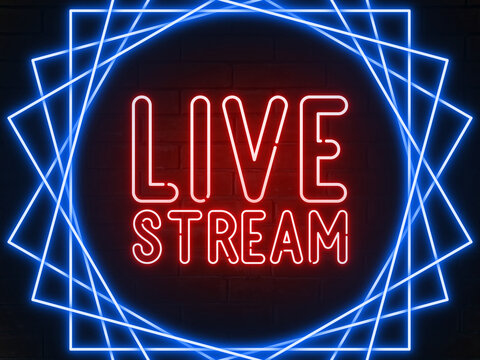 Live stream  - red neon light word on brick wall background