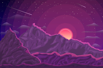 Photo sur Aluminium Aubergine Purple mountains vector landscape. Evening mountains and sun