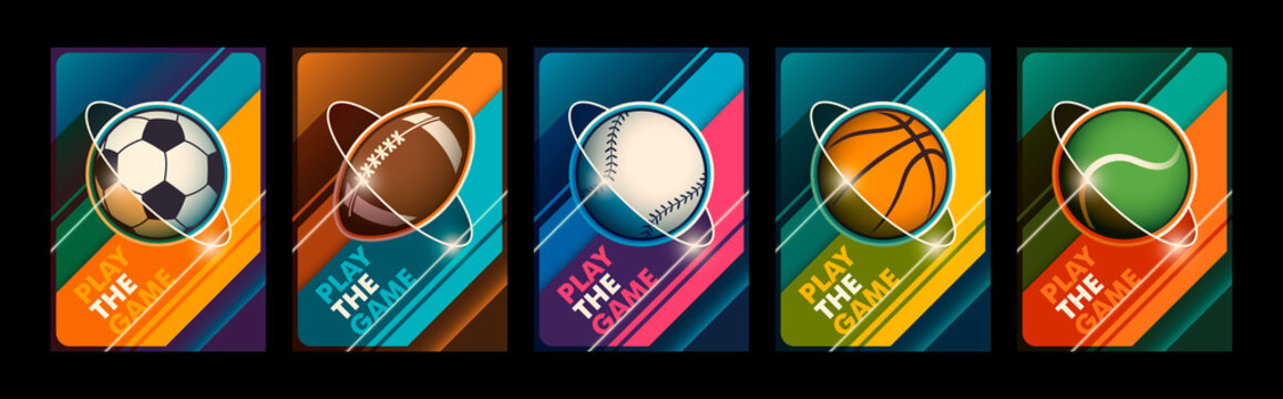 Set of colorful sport posters in modern colorful style design. Vector illustration.