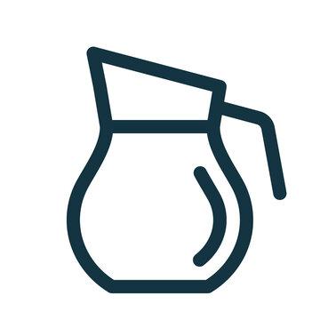Carafe with beverage, drink inside. Carafe symbol.