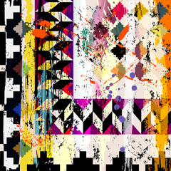abstract geometric background composition, with strokes, splashes, squares and triangles