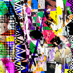 abstract geometric background pattern, with paint strokes and splashes