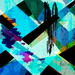abstract background, illustration with paint strokes, splashes and geometric lines