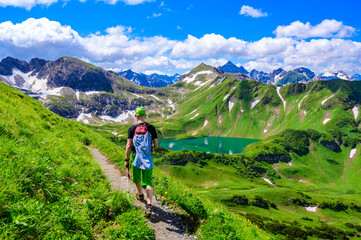 Lake Schrecksee - A beautiful turquoise alpine lake in the Allgaeu alps near Hinterstein, hiking destination in Bavaria, Germany