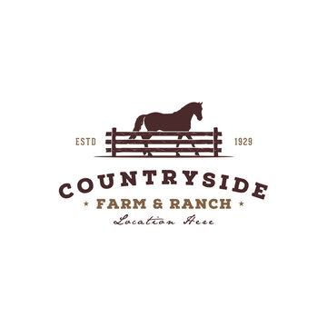Horse silhouette behind wooden fence paddock for vintage retro rustic countryside western country farm ranch logo design