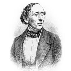 """Hans Christian Andersen (1805-1875), Danish fairy tales author. Old engraved picture from antique book """"Marchen fur Kinder"""" (Fairy tales for children). Published by Loewes Verlag in Stuttgart (1907)"""