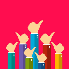 Many people showing thumb up sign, vector poster