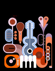 Papiers peints Art abstrait Flat style colored design isolated on a black background Music Instruments vector illustration. Art composition of guitar, saxophone, piano keyboard, trumpet, microphone and gramophone.