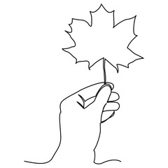 one line continuous drawing person left hand holding a maple leaf