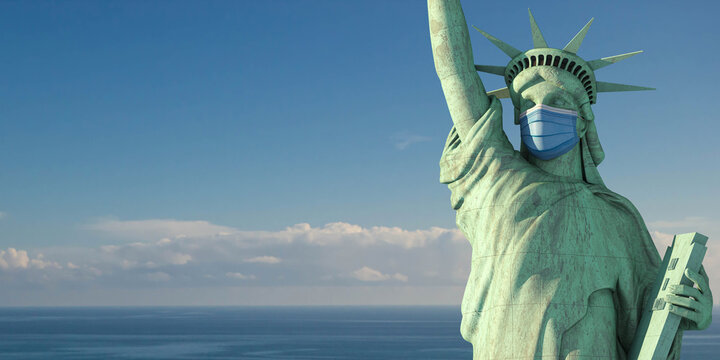 Coronavirus  COVID 19 in USA United States. Statue of Liberty in face medical mask. Support of american doctors.