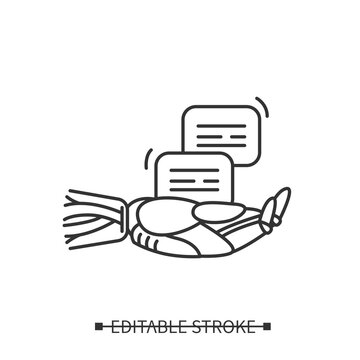 Voice to text icon. Robot hand and message. Linear pictogram for automatic speech to text processing technology. Editable stroke vector illustration for web, ui and machine learning service business