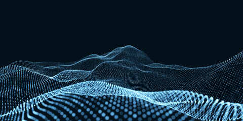 Abstract design element of wave.Abstract wave shaped array of glowing dots.Flowing particle waves. 3D illustration,3D rendering. Fotoväggar