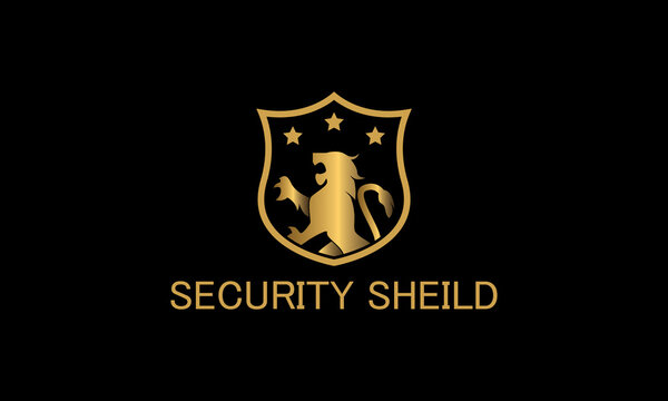 lion and shield logo template, luxury internet security logo design.