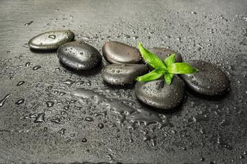 Fotorolgordijn Spa Spa-concept with zen stones and bamboo